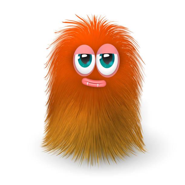 ふわふわオレンジ モンスターまたは外国人 - 毛皮のテクスチャ点のイラスト素材/クリップアート素材/マンガ素材/アイコン素材