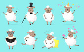 Fluffy sheep set. Funny wooly lamb dancing, running, sleeping, celebrating birthday, studying, falling in love. Cartoon animal collection, vector illustrations isolated on pale blue