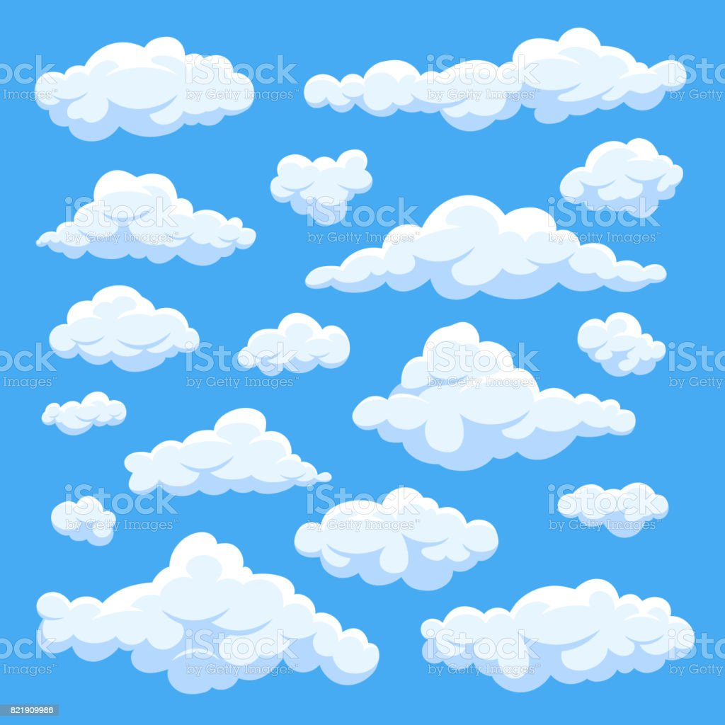 Fluffy white cartoon clouds in blue sky vector set. Cloudy day heaven vector art illustration