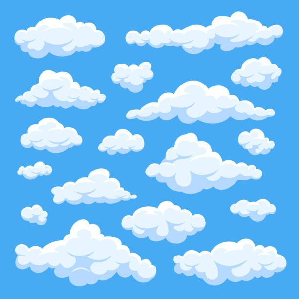 fluffy white cartoon clouds in blue sky vector set. cloudy day heaven - clouds stock illustrations