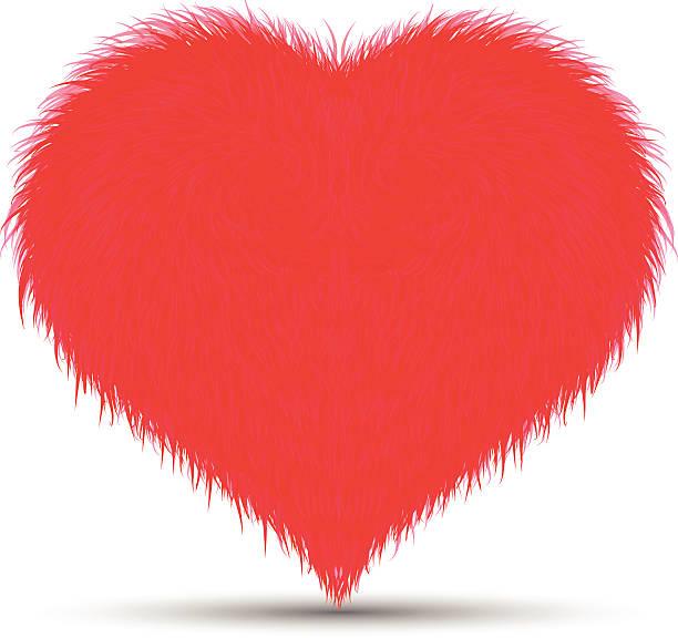 stockillustraties, clipart, cartoons en iconen met fluffy/furry heart - dierenhaar