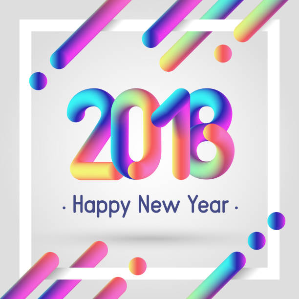 Fluid 3d Shapes Happy New 2018 Year Poster With Modern Colors Futuristic Composition Eps10