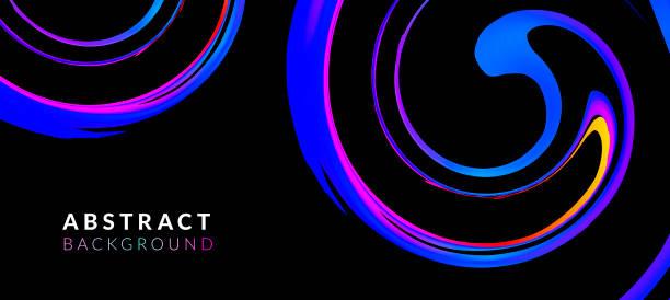 ilustrações, clipart, desenhos animados e ícones de fundo abstrato fluido. gradientes vibrantes e formas de mesclagem. modelos de design de cor neon para música, banner artístico e futurista, cartaz, placards, identidade, web design. fundo líquido da tinta - misturando