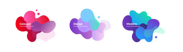 fluid and liquid shapes. trendy design templates. - насыщенный цвет stock illustrations