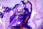 Fluid art texture. Abstract background with mixing paint effect. Liquid acrylic picture with beautiful mixed paints. Can be used for interior poster. Purple, lavender and golden overflowing colors