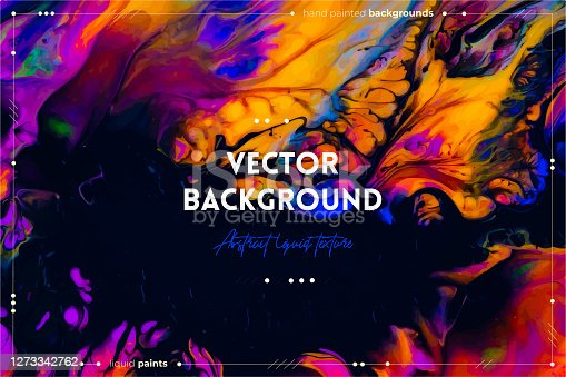 istock Fluid art texture. Background with abstract swirling paint effect. Liquid acrylic artwork with chaotic mixed paints. Can be used for posters or wallpapers. Orange, black and blue overflowing colors. 1273342762