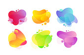 Fluid bubbles abstract illustrations set. Dynamic brushstrokes, colorful spots. Lava, gradient splashes isolated vector design elements. Yellow, blue, green flat shape on white background
