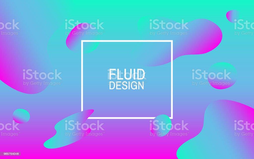 Vloeibare bubbels. Kleurrijke abstracte achtergrond. Geometrische vormen. Helder ontwerp voor web, poster, flyer. Vectorillustratie - Royalty-free Abstract vectorkunst