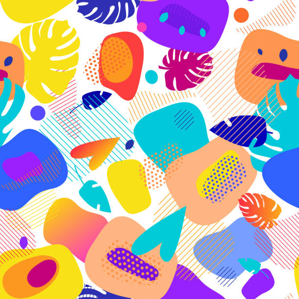 fluid color badges set. abstract shapes composition. seamless pattern - jungle stock illustrations