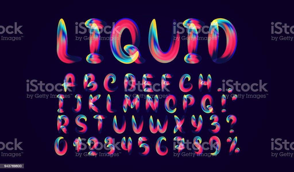 Fluid Colored Letter Alphabet Font Of Melting Liquid Royalty Free