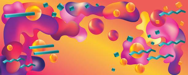 fluid design vaporwave abstrakte web-banner - landscape crazy stock-grafiken, -clipart, -cartoons und -symbole