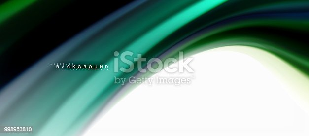 istock Fluid liquid mixing colors concept on light grey background, curve flow, trendy abstract layout template for business or technology presentation or web brochure cover, wallpaper 998953810