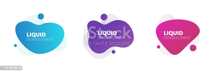 istock Fluid or liquid graphic graphic element design vector background for flyer or presentation template, gradient abstract geometric shapes for trendy text, wavy splash and curvy backdrop clipart 1191620916