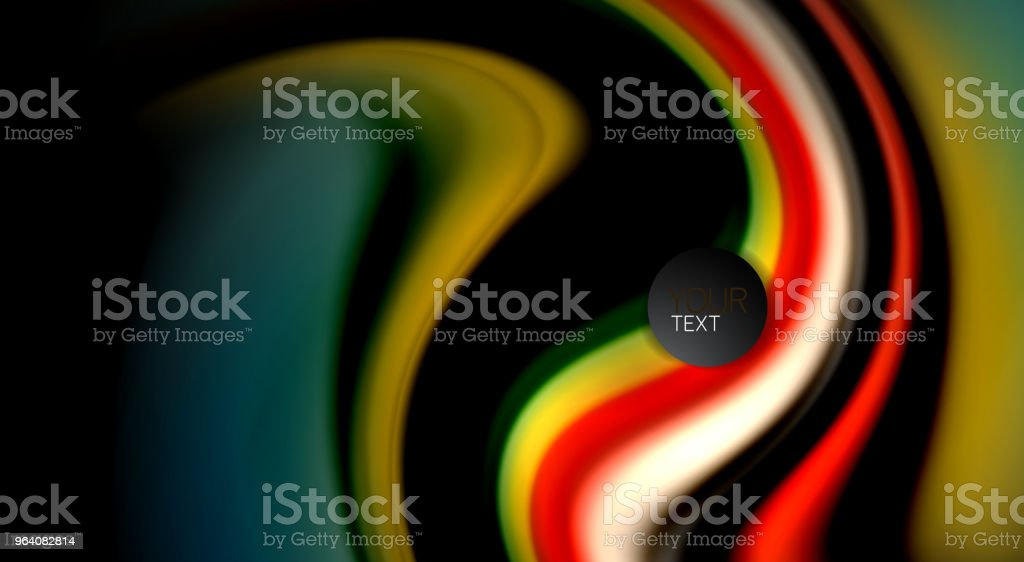 Fluid rainbow colors on black background, vector wave lines and swirls - Royalty-free Abstract stock vector