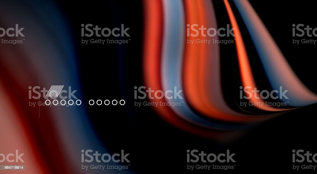 Fluid rainbow colors on black background, vector wave lines and swirls royalty-free fluid rainbow colors on black background vector wave lines and swirls stock vector art & more images of abstract