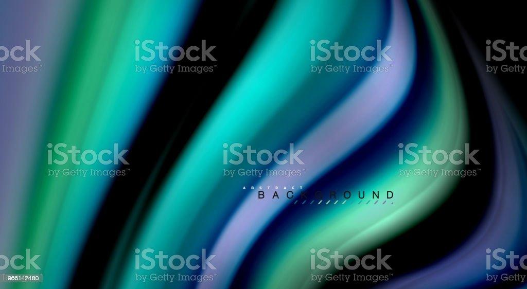 Flytande regnbågens färger på svart bakgrund, vektor påfyllnadsrader och virvlar - Royaltyfri Abstrakt vektorgrafik