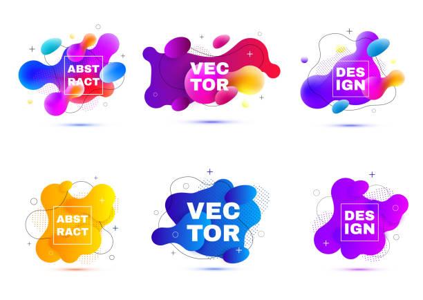 illustrazioni stock, clip art, cartoni animati e icone di tendenza di fluid vector layout template. - colore descrittivo