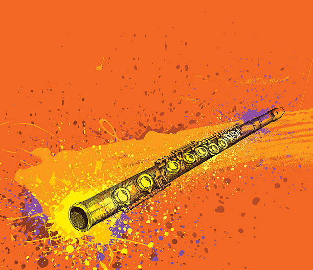 bildbanksillustrationer, clip art samt tecknat material och ikoner med fluit grunge design - flöjt