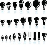 Fluorescent and LED Light Bulb interface icons on White Background