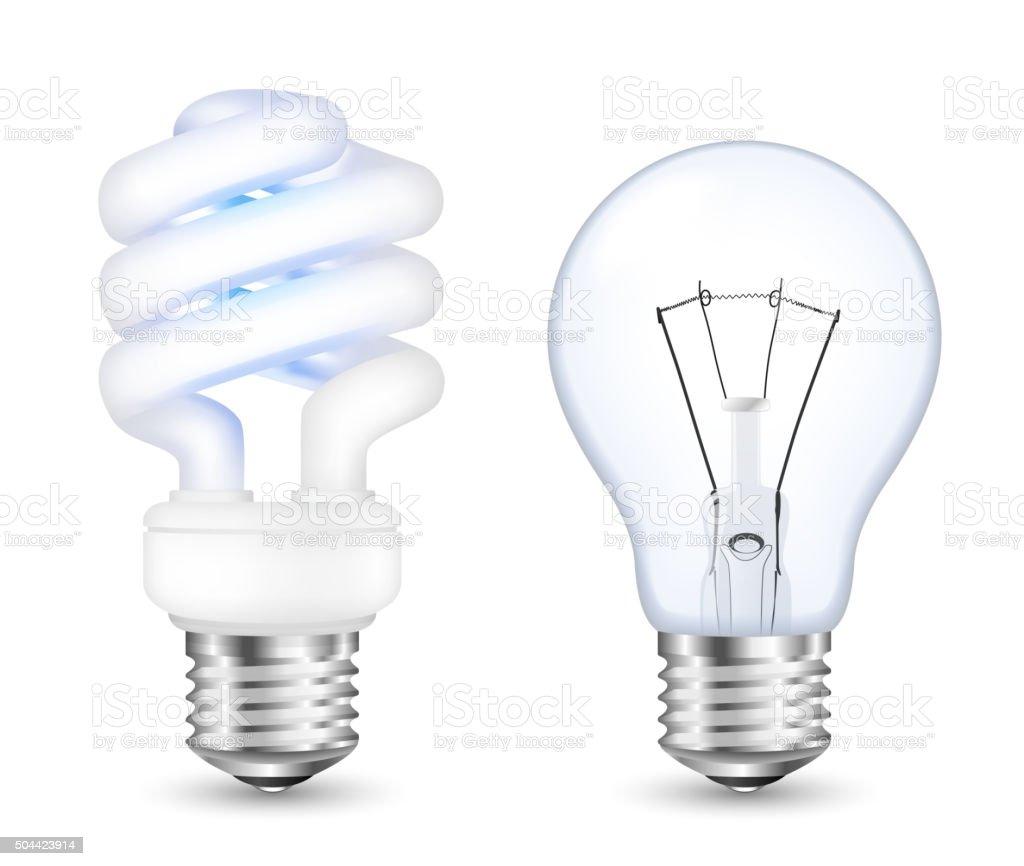 Fluorescent energy saving and incandescent light bulbs vector art illustration
