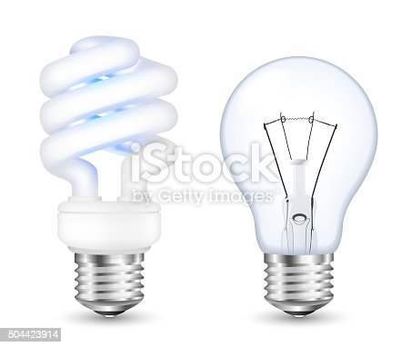 fluorescent energy saving and incandescent light bulbs stock vector art more images of bright. Black Bedroom Furniture Sets. Home Design Ideas
