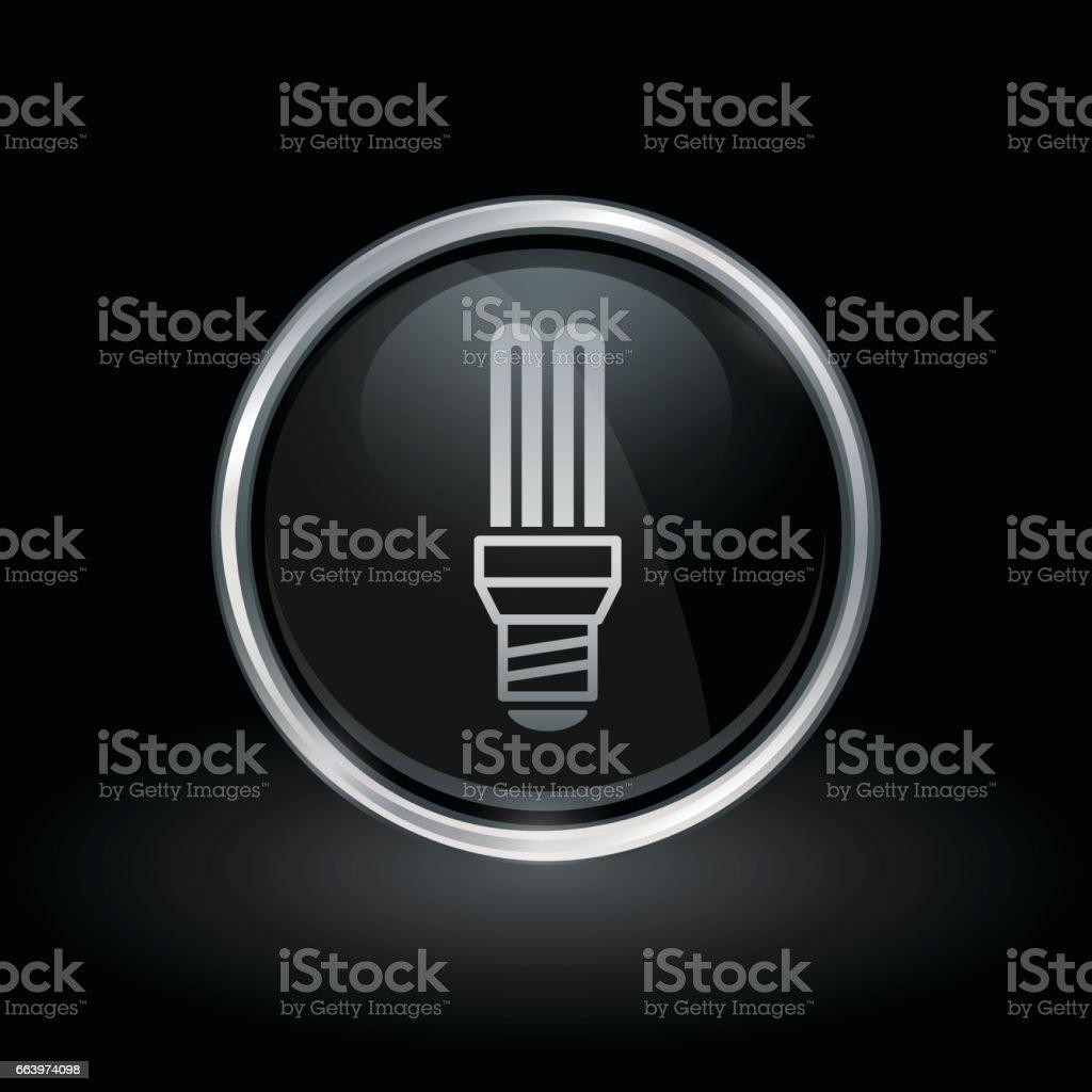 Fluorescent lightbulb icon inside round silver and black emblem vector art illustration