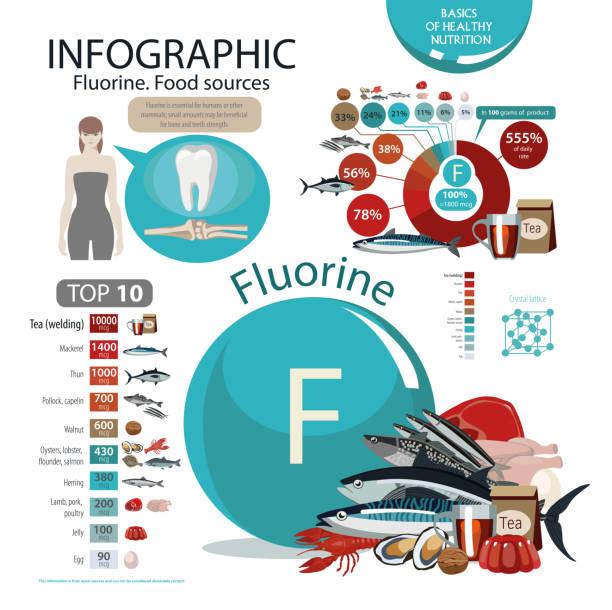 stockillustraties, clipart, cartoons en iconen met fluor. voedselbronnen. - spoorelement