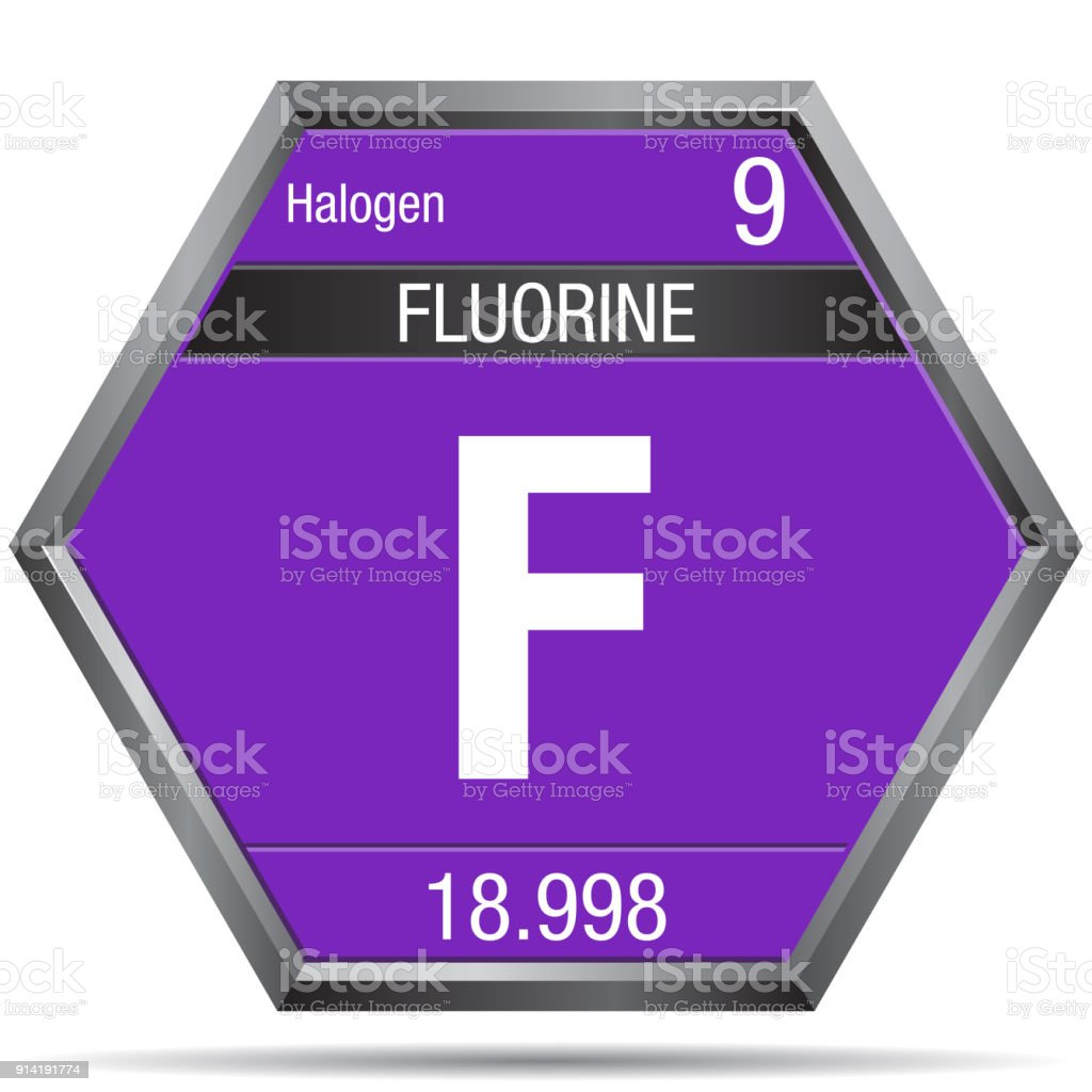Fluorine Symbol In The Form Of A Hexagon With A Metallic Frame