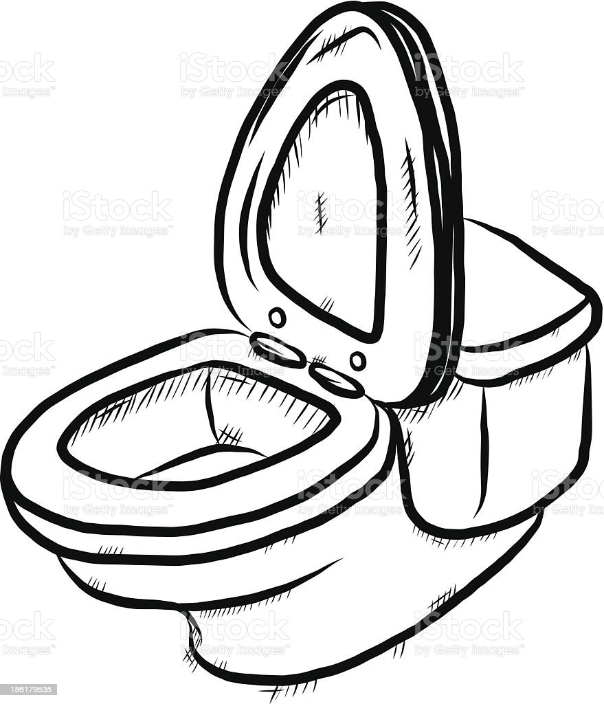 Flush Toilet Cartoon Sketch Stock Vector Art 186179535