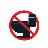flush toilet icon. eps 10 vector file