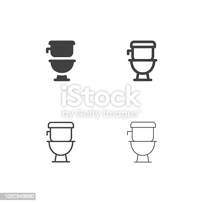 Flush Toilet Icons Multi Series Vector EPS File.