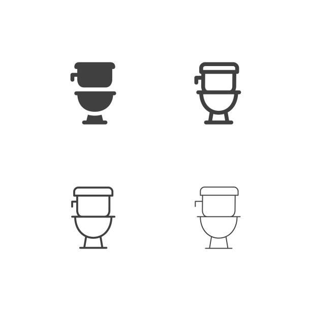 illustrazioni stock, clip art, cartoni animati e icone di tendenza di flush toilet icons - multi series - bagno