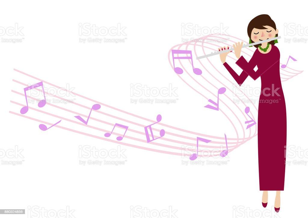 フルート奏者音楽クリップ アート女性アーティスト女性プレーヤー 1人