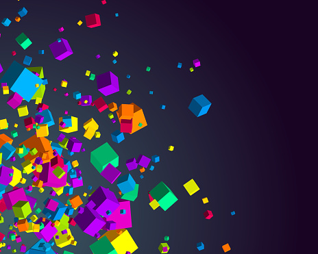 Fly 3d cubes vector background