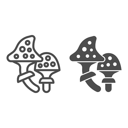 Fly agaric line and solid icon, halloween concept, speckled poison mushroom sign on white background, amanita icon in outline style for mobile concept and web design. Vector graphics.