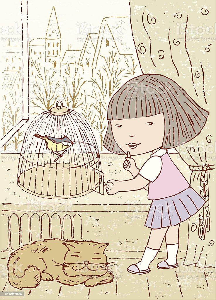 Fly bird vector art illustration