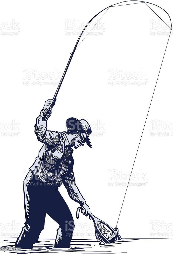 Fly fisherman netting a trout vector art illustration