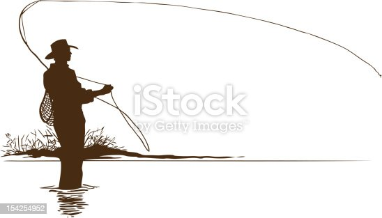 Fly Fisherman Silhouette