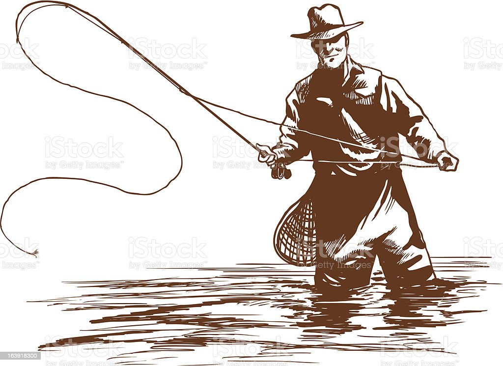 Fly Fisherman Stock Illustration - Download Image Now - iStock