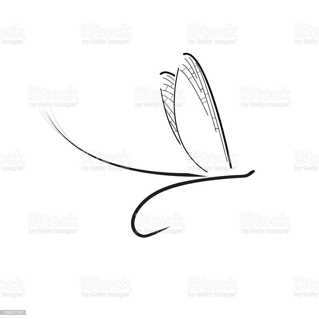 Fly fishing icon vector art illustration