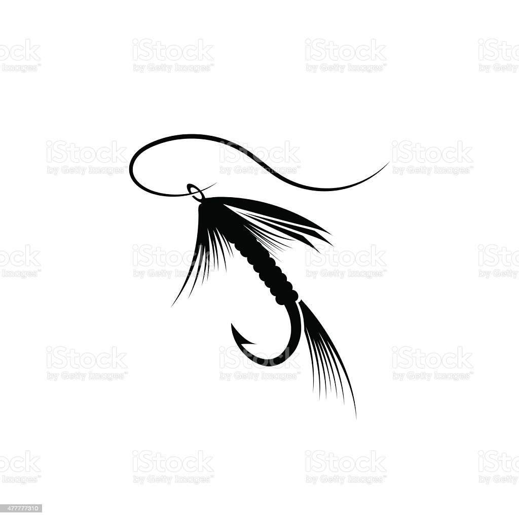 Fly fishing lure vector art illustration