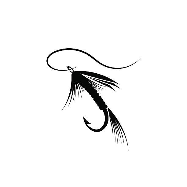 fliegenfischen lure - angelhaken stock-grafiken, -clipart, -cartoons und -symbole