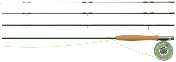 Fly fishing rod vector art illustration