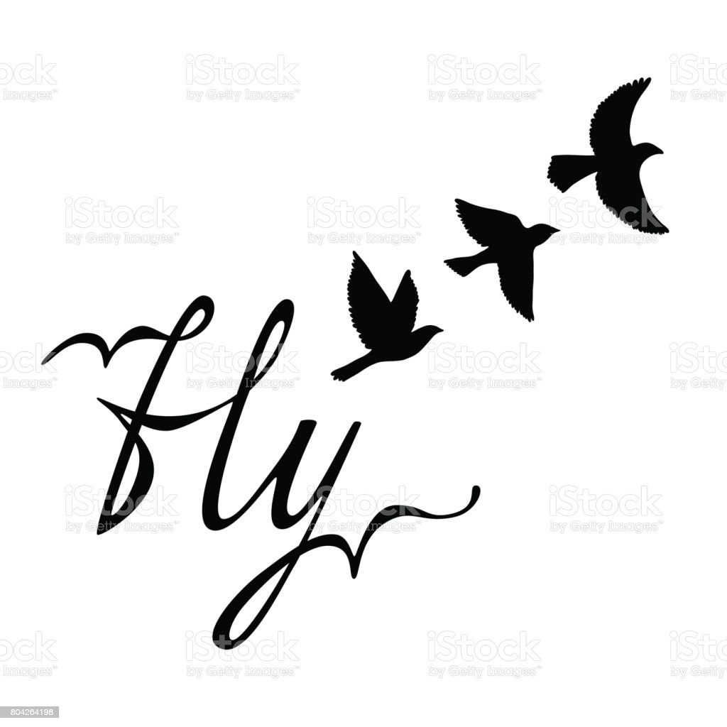 Fly. Inspirational quote about happy. Modern calligraphy phrase with hand drawn silhouette birds. vector art illustration