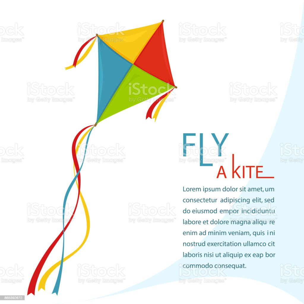 Fly Kite in Sky, vector