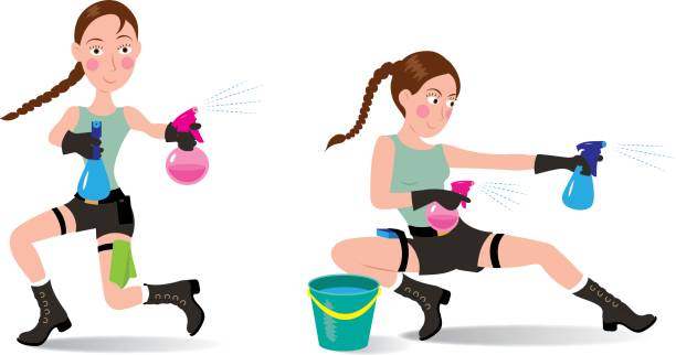 Fly lady happy cleaning Lara Croft vector art illustration