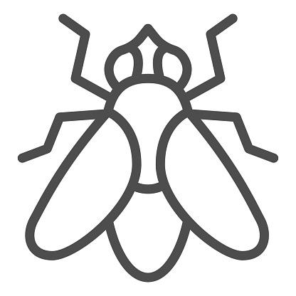 Fly line icon, Insects concept, fly insect sign on white background, Fly silhouette icon in outline style for mobile concept and web design. Vector graphics.