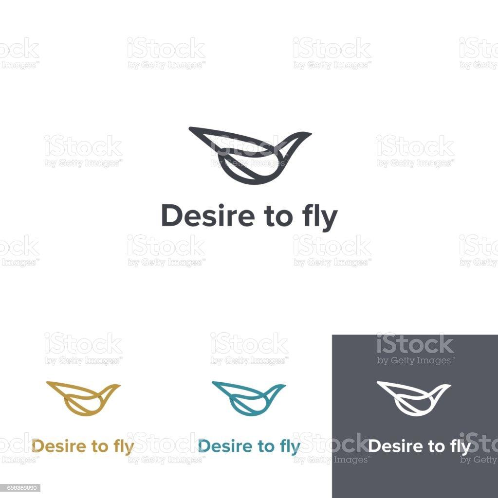 Fly logo design. Vector logotype with bird shape vector art illustration