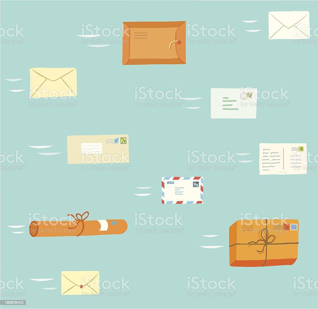 Fly Mail vector art illustration