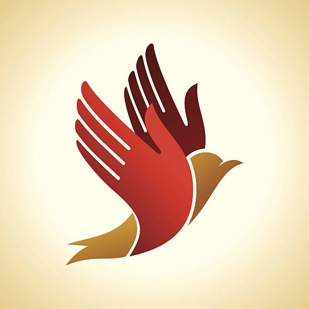 fly of bird to hand. - optimistic 幅插畫檔、美工圖案、卡通及圖標